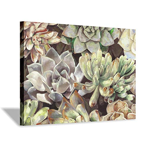(Floral Succulents Canvas Wall Art: Botanical Artwork Painting Print on Wrapped Canvas for Bedroom(36''x24'') )