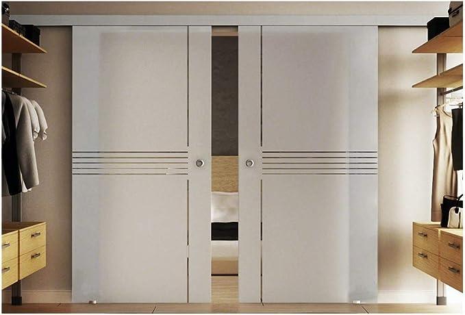 Cristal para puerta corredera de dos piezas 77,5 x 205 cm por disco en vidrio templado-vidrio esmerilado con idea-diseño de (i)- muy elegante. Levidor EasySlide-sistema completo. Duración de la batería del carril