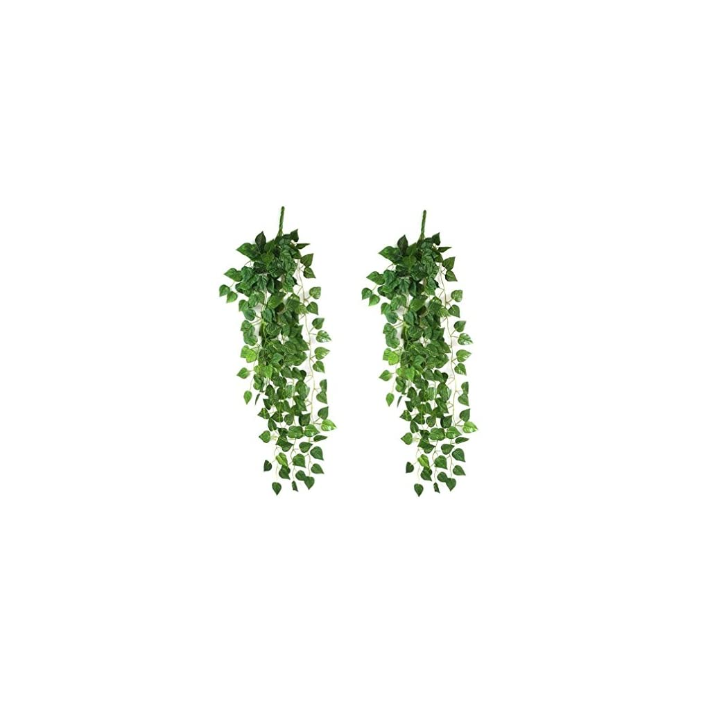 Halomy 2pcs Atificial Fake Hanging Vine Plant Leaves Artificial Flowers Garden for Wedding Home Garden Wall Decor(35.5/90CM)