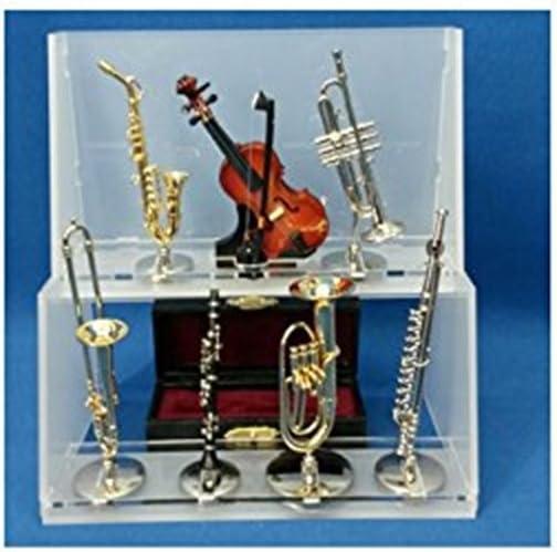 Pack de EXPOSITOR + 8 Mini INSTRUMENTOS musicales decorativos. Incluye: Violín, Clarinete, Saxo, Trompeta, Trombón, Flauta travesera y Tuba.. DAKOTA. Pack 8 unidades: Amazon.es: Hogar