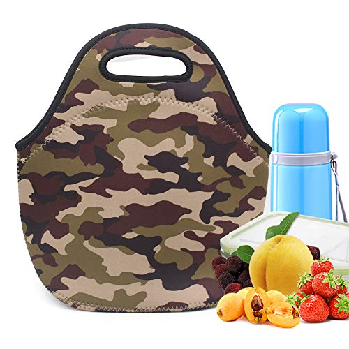 Neoprene Lunch Bag,LOVAC Thick Insulated Lunch Bag - Durable & Waterproof Lunch Tote With Zipper For Outdoor Travel Work School (Camouflage)