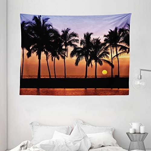 Ambesonne Hawaiian Tapestry, Hawaiian Sunset on Big Island Anaehoomalu Bay Ocean Romantic Resort, Wide Wall Hanging for Bedroom Living Room Dorm, 80 X 60 , Mauve Black