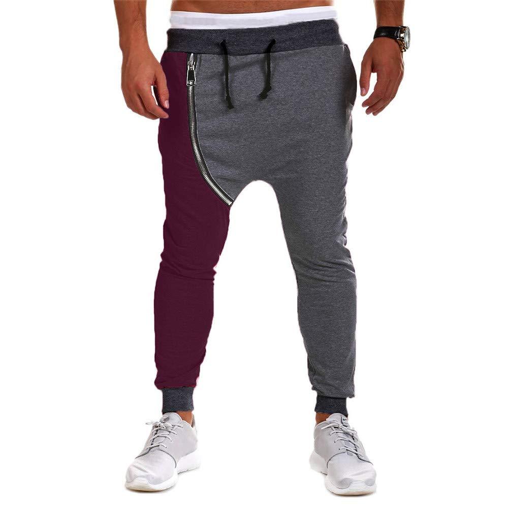 ♚ Pantalones de harén de los Hombres Cremallera de otoño a89a1b2e550