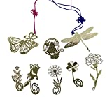 8pcs Vivid Hollow Design Flower Butterfly Dragonfly Metal Mini Bookmarks For Kids School Study Decoration Souvenirs Business Christmas Birthday Gift