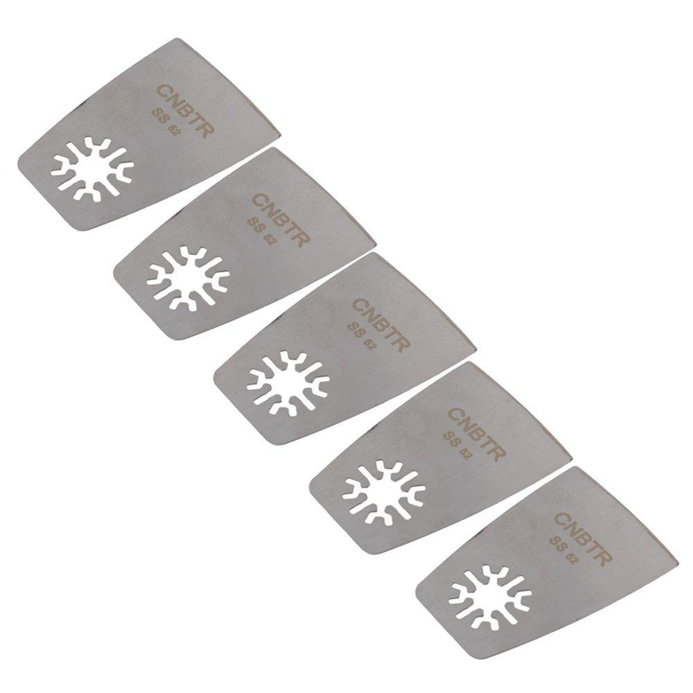 cnbtr 52 mm plateado Universal de acero inoxidable raspador plano de hojas de sierra oscilante multi tool set de 5 yqltd