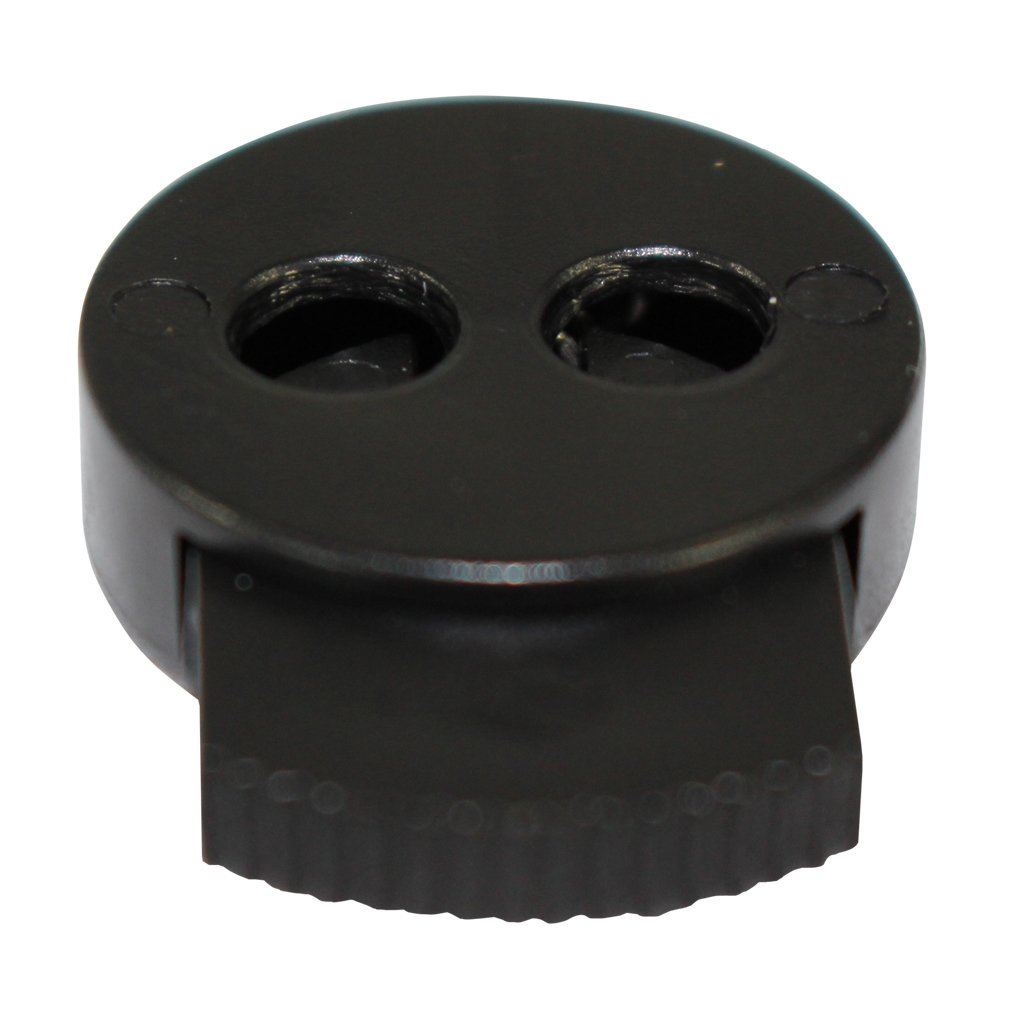 Black Plastic Toggle Stopper Drawstrings More 100 Pack Bags Paracord Dual Circle Spring Cord Lock SGT KNOTS DIY Projects Clothing Cordlock Stoppers for 1//8 Cord Shoelaces