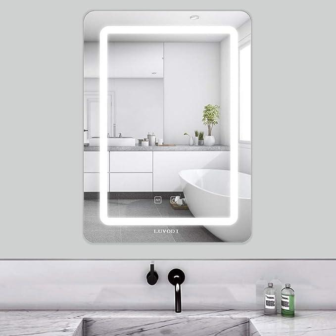 LUVODI 50 x 70cm Espejo Baño Pared con Luz LED Función Antivaho con Interruptor Táctil 3 Modos Ajustables Espejo Moderno para Baño Dormitorio ...