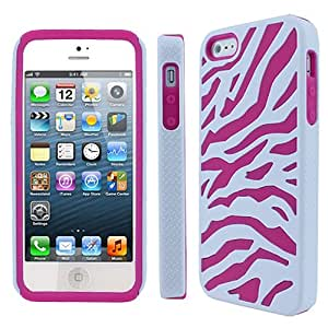 White Pink Zebra Hybrid Hard Soft Silicone Gel Skin Dual Layer Case Cover for Apple iPhone 5
