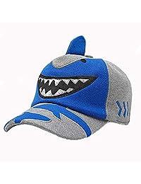 Children Adjustable Baseball Cap Cartoon Outdoor Leisure Folding Earmuff Shark Hat (blue)