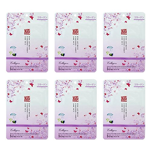 [Mask Collagen Essence Face Moisture Pack (6 Sheet) - Korean Cosmetic Facial Beauty Healing Sheets] (Peeling Face Costume)