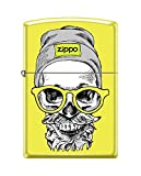 Zippo Custom Lighter Design Yellow Hipster Skull Head with Cap, Headphone and Glasses Windproof Collectible - Cool Cigarette Lighter Case Made in USA Limited Edition & Rare