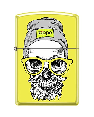 (Zippo Custom Lighter Design Yellow Hipster Skull Head with Cap, Headphone and Glasses Windproof Collectible - Cool Cigarette Lighter Case Made in USA Limited Edition & Rare)