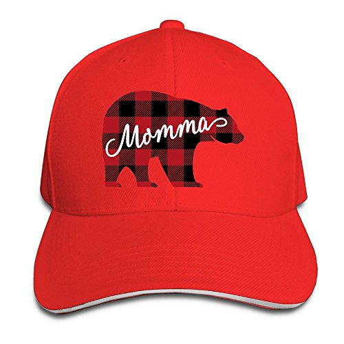 WWTBBJ-B Red Buffalo Plaid Bear Mama Sport Sandwich Headgear