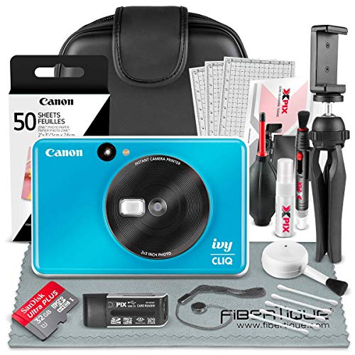 Canon Ivy CLIQ Instant Camera Printer (Seaside Blue) + 32GB + Photo Paper + Case + Deluxe Accessories Bundle