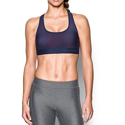Under Armour Women's Armour Crossback Embossed Elastic  Sports Bra, Pomegranate/Midnight Navy, Small