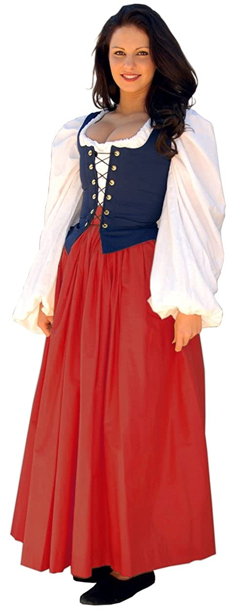 Renaissance Gathered Soft Cotton True Red Skirt by Sofi's Stitches - DeluxeAdultCostumes.com