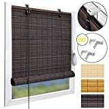 Sol Royal Bamboo Blinds SolDecor B86 No Drilling Brown Roman Blind + Clamping Brackets 60x160 cm Window Roller Blind