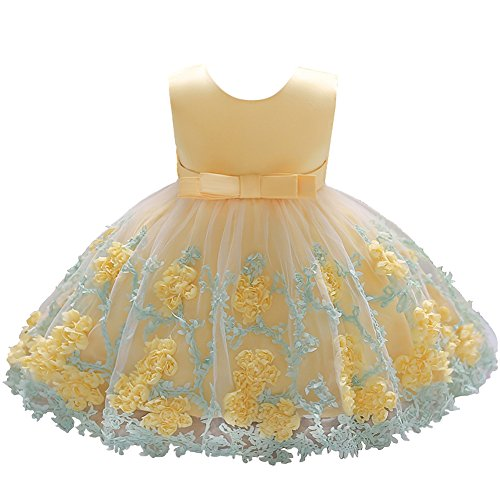 Dressy Daisy Baby Girls Dresses Pageant Dress Wedding Flower Girl Dress Size 18-24 Months Yellow