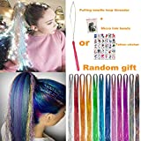 UPTO 46'Hair Tinsel with Tools 12 Colors 2000 Strands Hair Tinsel Kit Hair Dazzle Glitter Extensions Sparkling Shiny Hair Flairs Extensions Silk Fairy Hair Tinsel Strands Kit Hair (46 inch, 12 colors)