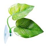 Betta Fish Leaf Pad Betta Hammock Toys Plastic Aquarium Plants with Suction Cup Green