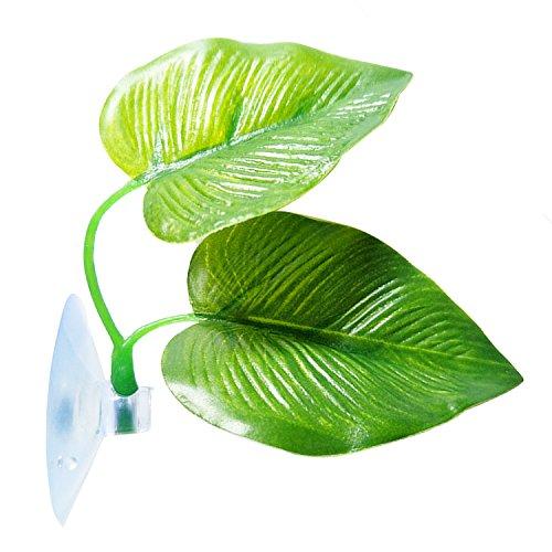 SLSON Betta Fish Leaf Pad Betta Hammock Toys Plastic Aquarium Plants with Suction Cup Green (Best Toys For Betta Fish)