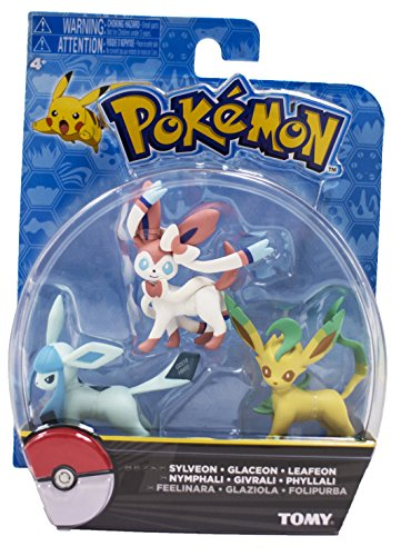 Official Packaged Pokemon Eevee Eeveelutions 3 Pcs. Exclusive Figure Set Includes: Sylveon , Glaceon & Leafeon by Hot Topic