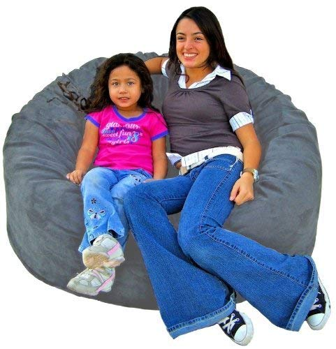 Grey 4 feet Cozy Sack 4-Feet Bean Bag Chair, Large, Navy