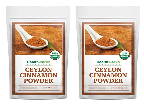 Healthworks Ceylon Cinnamon Powder Ground Raw Organic (32 Ounces / 2 Pounds) (2 x 1 Pound Bags) | Keto, Vegan & Non-GMO | Great with Coffee, Tea & Oatmeal | Premium Antioxidant Superfood/Spice