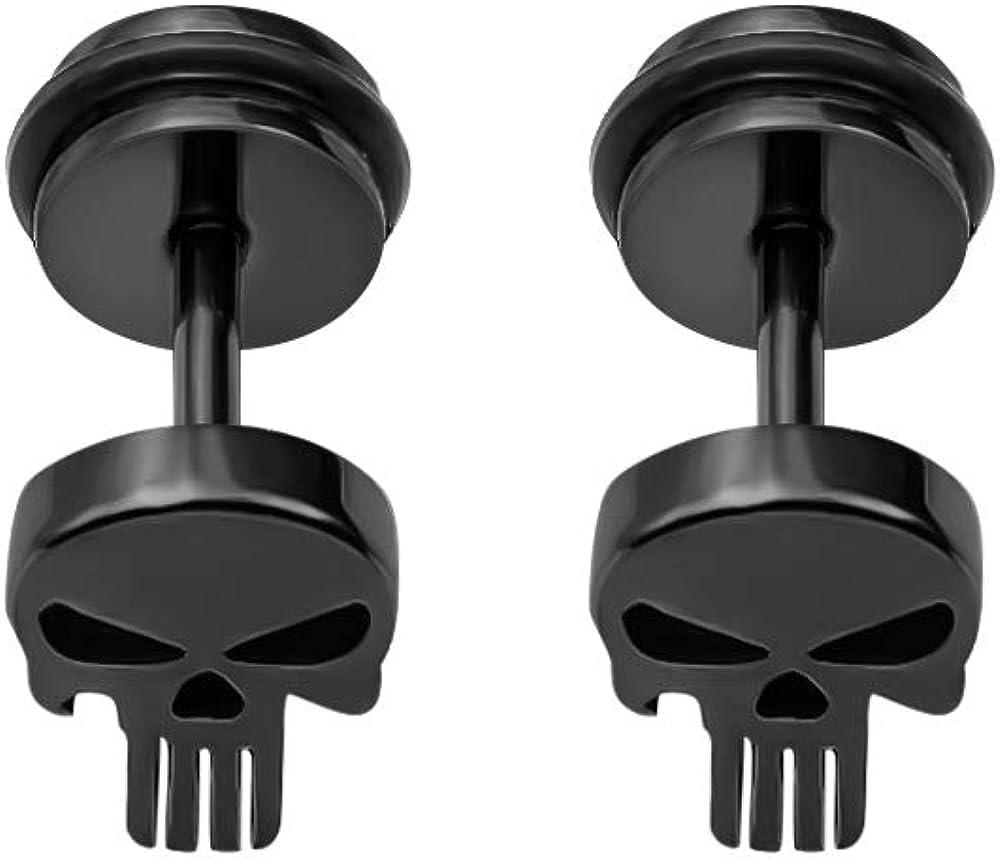YC_jewelry Stainless Steel Punisher Skull Screw Earrings Studs Back Hip-Hop Stud Earring for Men Women.
