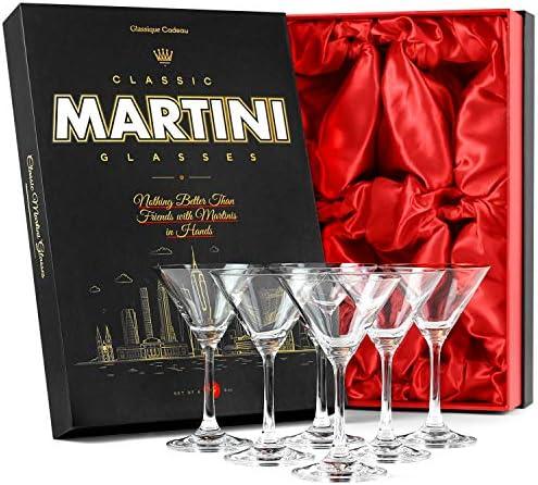 Small 5 oz Crystal Martini, Manhattan, Cosmopolitan Cocktail Glasses for 4 oz Classic Bar Drinks | Set of 6 | Elegant Long Stemmed Drinking Glassware | Mini Durable Six Piece Gift Stemware