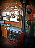 Wood-Burning-Cook-Stove-La-Nordica-Rosa-Maiolica-Bordeaux-w-Wood-Baking-Oven