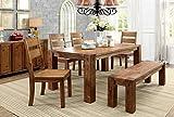 Furniture of America IDF-3603T-6PC Barkin Dining Table, Dark Oak Review