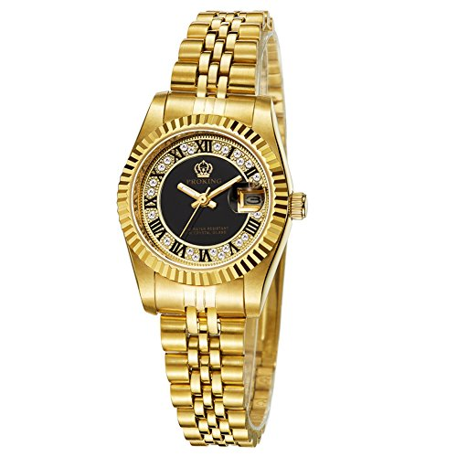 Black Dial Jewelry - Women Dress Gold-Tone Stainless Steel Wrist Watch Black Dial