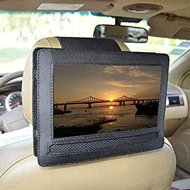 Car Headrest Mount Holder for DBPOWER 10.5  Portable DVD Player with Swivel and Flip Screen and Fits Other 10-10.5  Swivel Screen Portable DVD Player - Black