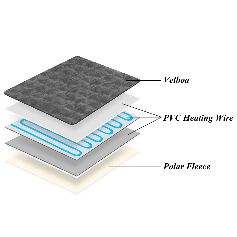 Waterproof Indoor Pet Bed Warmer Electric Heated Warming Pad Mat with Chew Resistant Steel Cord Large Pet Heating Pad 3 Temperature Settings(23.6 * 19.7) Cangfort