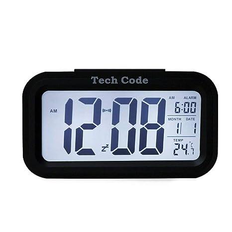 DDG EDMMS Despertador Digital Forma de rectángulo Hablar Inteligente LED Reloj Despertador automático con la Temperatura Interior, Calendario - la ...