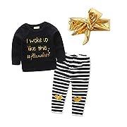 Baby Toddler Girl Long Sleeve Balck Top+Stripe Pants+Gold Headband 3Pcs Set (0-9 Month, Black)