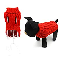 Pack of 2 Turtleneck Classic Cable Knit Dog Cat Pet Sweater Apparel Classic Red and Grey