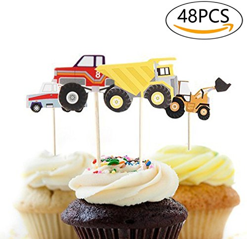 A Little Lemon 48 Pcs Truck Excavator Dumpers Party Fun Cup Cake Decorative Toppers Cupcake Decorating Tools for (Diy Festa Halloween)