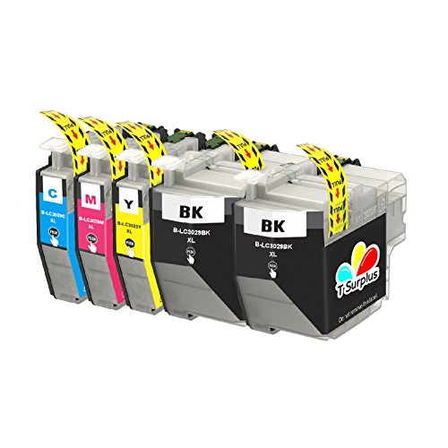 TS 5-PK Compatible Ink Cartridges for Brother-LC-3029 LC-302 (2 Black, 1 Yellow, 1 Magenta, 1 Cyan) for Multifunction Printers MFC-J5830DW, MFC-J5930DW, MFC-J6935DW, MFC-J6535DW