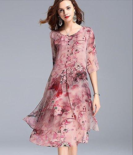 MiGMV?Robes Robe de Soie de Hangzhou 2018 Nouveaux vtements pour Femmes de Porter l't Longue Soie de m?rier mre casse d'age Moyen Jupe Fleur,L,Pink