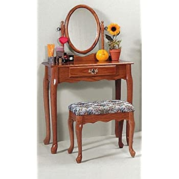 Oak vanity stool set vanity table bench - Amazon bedroom chairs and stools ...