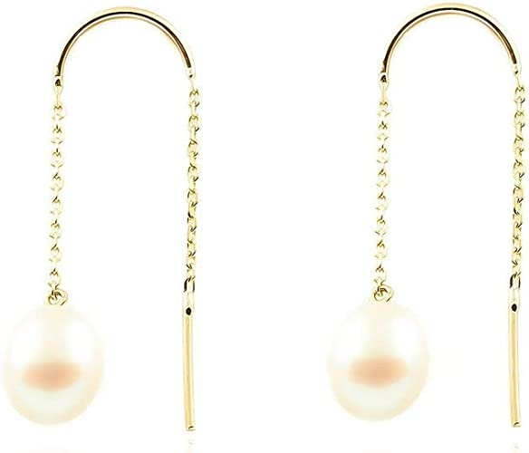 Pendientes Oro largo cadena con Perla natural 9kts