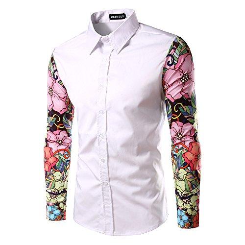 Whatlees Mens Fashion Luxury Casual Slim Fit Stylish Long Sleeve Dress Shirts Floral B030-white-XXL