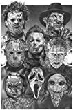Horror Nights Movie Villains - Scariest Halloween Decoration Ever Original Sketch Prints - All Time Favorite Evil Guys - Michael Myers Pinhead Chucky Jason Freddy Krueger Scream Leatherhead