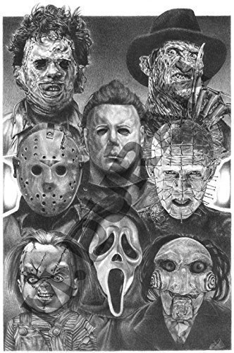 Horror Nights Movie Villains - Scariest Halloween Decoration Ever Original Sketch Prints - All Time Favorite Evil Guys - Michael Myers Pinhead Chucky Jason Freddy Krueger Scream (Scariest Halloween Movies Ever)