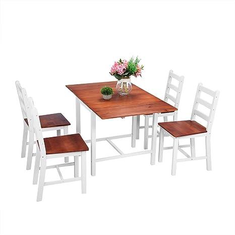 Surun - Juego de Mesa de Comedor y 4 sillas de Madera Maciza ...