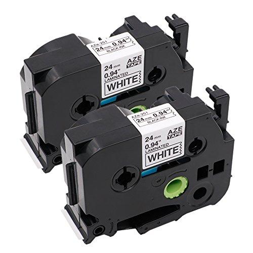 Cheap 2-Pack Compatible TZe-251 TZe251 TZ-251 TZ251 Label Tape Compatible with Brother P-Touch PT-9600 PT-D600 PT-D600VP PT-H500LI PT-P700 PT-P750W, Black on White (24mm x 8m) hot sale