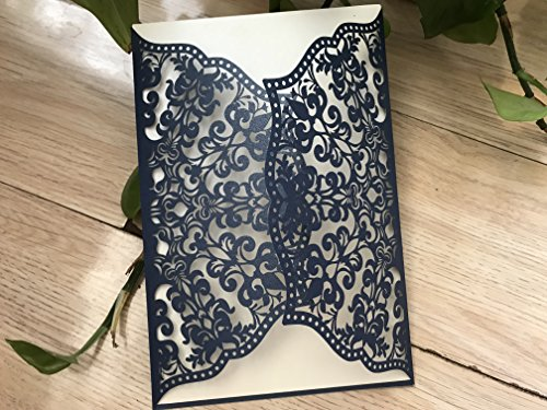 Gatefold Invites - Navy Blue Laser Cut Gatefold Invitation,Laser Cut Wedding Invitations,Elegant Invitations,Lace Paper Invites,Invitaiton Cards,Wedding Cards,Greeting Cards,50pcs