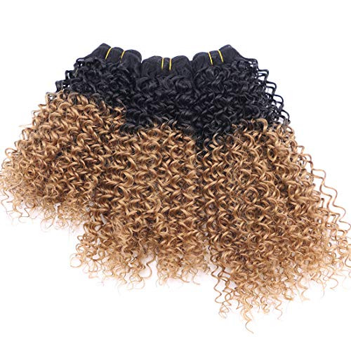 Synthetic Weave Kinky Curly Hair 3 Bundles Ombre Two Tone Black To Blonde 16